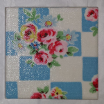 Ceramic Wall Tiles Made With Cath Kidston Daisy Rose Check in Blue